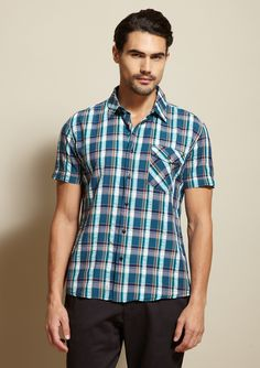 Teal plaid shirt...would look great in the spring!