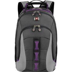 Swiss Gear - Skyscraper Laptop Backpack - Gray/Purple - Front Zoom