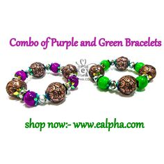 Best Design Combo of Purple and Green Bracelets   Shop Bracelet Jewellery Online ➥  www.ealpha.com/home/combo-of-purple-and-green-bracelets-/383