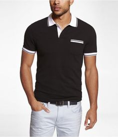 Mens Fitted Tipped Pocket Pique Polo Pitch Black, Small $49.90