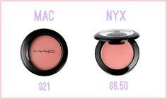 The Original: MAC Cremeblend Blush in Ladyblush- $21 Drugstore Dupe: NYX Cream Blush in Natural- $6.50