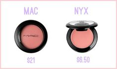 Sparkle & Mine: Budget Beauty: MAC Dupes!The Original: MAC Cremeblend Blush in Ladyblush- $21 Drugstore Dupe: NYX Cream Blush in Natural- $6.50