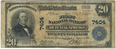 As we will be saying often today, here is yet another great addition to the national banknote census. This blue seal from De Funiak Springs was recently discovered in Maryland and consigned to our sale. It is now one of nine large notes known for this one bank town. Nine is simply not enough to go around. Expect this rarity to sell within the auction estimate.