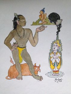 Krishna for today. Giridhari. Watercolour. Indra pours cold water on himself.
