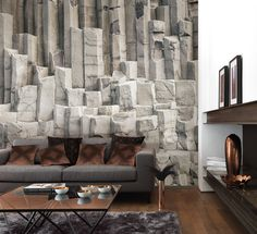 Collection SO WALL 2 : papier-peint, materiau bruts, basalt, trompe l'oeil