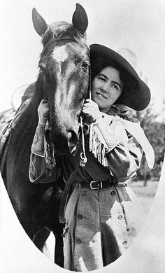 Unknown Cowgirl & Horse, Calgary Stampede, 1912.