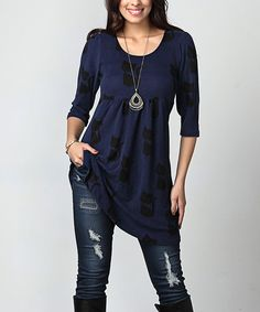 Take a look at this Navy Cat Empire-Waist Tunic Dress - Plus today!