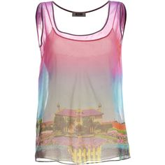 MOSCHINO C Pink-Rainbow Graphic Print Silk Tank Top ($425) ❤ liked on Polyvore