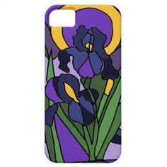 Awesome Blue Iris Floral Abstract Art iPhone 5 Covers