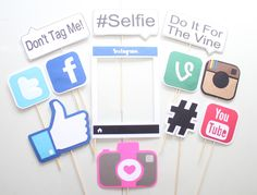 12Pc *Social Media Photo Booth Props/Photobooth Props by ThePartyGirlStudio on Etsy https://www.etsy.com/listing/233594710/12pc-social-media-photo-booth