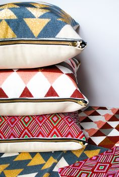 Hand Beaded Meraki Home Accents Pillows, made by artisans in the highlands of Guatemala