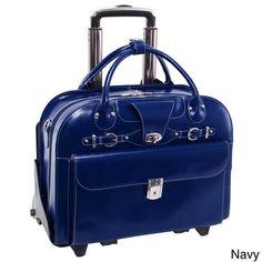 Mcklein Roseville, Checkpoint-Friendly Detachable Wheeled Laptop Briefcase, Top Grain Cowhide Leather, Navy Size: One size, Blue Briefcase Women, Laptop Briefcase, Leather Briefcase, Luggage Backpack, Luggage Bags, Rolling Briefcase, Laptop Screen Repair, Laptop Storage, Laptops For Sale