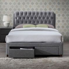 Upholstered Sleigh Bed | Storage Drawers | Headboard | Mattress Single Divan Beds, Double Divan Bed, Fabric Sleigh Bed, Sleigh Beds, Double Bed With Storage, Bed Storage, Storage Drawers, Superking Bed, Bed With Drawers