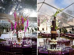 Amazing centerpieces for a tented Indian wedding.