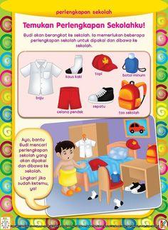 Mengenal Perlengkapan Sekolah | Ebook Anak Kindergarten Activities, Preschool Crafts, Activities For Kids, School Worksheets, Cat Cards, Math For Kids, Learn To Read, Pre School, Kids And Parenting