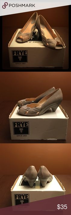 Frye 'Ada' Pleated Peep Toe Pump Stylish, versatile pump with conical wrapped heel supports. Beautifully detailed with textural pleating and cutouts near the peep toe. Gently worn. Frye Shoes Heels