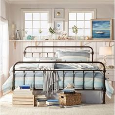 Monaco Queen Size Modern Metal Bed Frame in Black shopping, Buy Bedroom online at MyDeal for best deals, coupons, bargains, sales