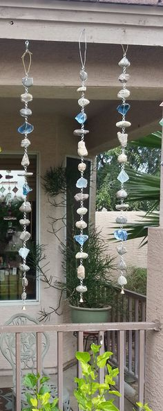 I was asked to make a rock and glass rain chain with Grey rocks, blue and clear glass. I fell in love with the rain chains so much, I made