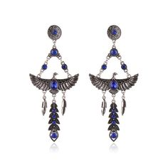 4.13$  Buy now - http://dixay.justgood.pw/go.php?t=174882802 - Pair of Eagle Faux Crystal Decorated Earrings 4.13$