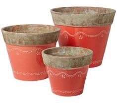 Set of 3 Red Chantilly Pots | 55DowningStreet.com