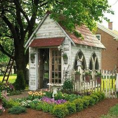Church-windowed garden shed ... #potting shed #potting bench #gardening Chicken coop!