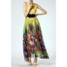 Casual Scoop Neck Printed Sleeveless Women's Maxi DressMaxi Dresses | RoseGal.com