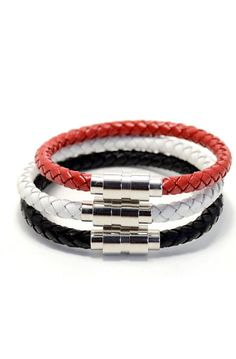 3 Pack Large Leather Variety White/Red/Black