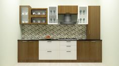 Modular L-Shaped kitchen with breakfast counter and bar cabinet ...