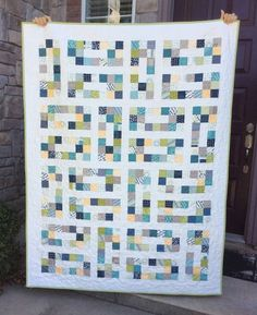 This is a new pattern from the Fat Quarter Shop called Mini Charm Chocolates Quilt. Mine is made in Moda's Sunday Supper. This pattern . Jellyroll Quilts, Scrappy Quilts, Easy Quilts, Scrap Quilt Patterns, Modern Quilt Patterns, Quilting Ideas, Postage Stamp Quilt, Charm Pack Quilts, Flannel Quilts