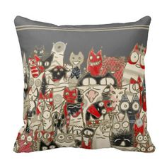 Lot Cats Throw Pillow ! :) #Cat #ThrowPillow #Gray #cushion #Zazzle #JapaneseStyle