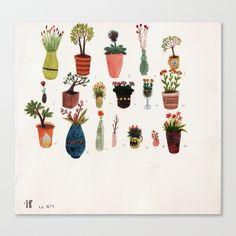 Potted flower and plant illustration by German artist Angela Dalinger Art And Illustration, Watercolor Illustration, Nature Illustrations, Arte Popular, Popular Art, Arte Floral, Grafik Design, Beautiful Artwork, Design Art