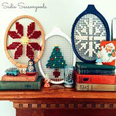 Game, Set, Cross Stitch: Vintage Wooden Tennis Racket Needlework