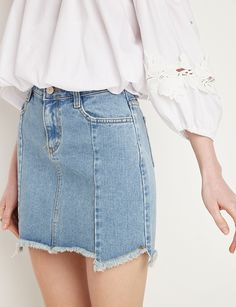 Spring Denim Shopping Guide | Denim Frayed Mini Skirt, $79; at Pixie Market