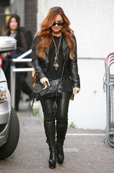 Demi Lovato, leather pants, leather jacket, all black everything