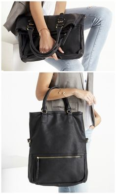 Black tote bag that doubles as a clutch