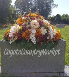 Fall Headstone Saddle-Flowers For Headstone-Grave Decoration-Memorial Flowers-Gravestone Flowers-Cemetery Flowers-Headstone Flowers by CoyoteCountryMarket on Etsy