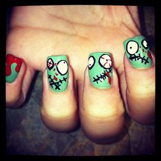I would never have the patience or the steady hand required for these Zombie nails but they are pretty cute.