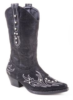 Roper Kids Girls Black Fashion Faux Leather Narrow Toe Clear Rhinestones Western Boots