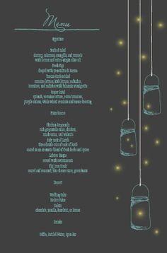 The Mason Jars and Fireflies Wedding Menu
