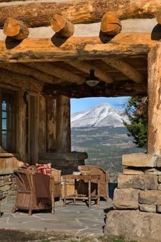 Rustic cabin porch with mountain view! Mountain Homes, Mountain Living, Mountain View, Beautiful Homes, Beautiful Places, Log Cabin Homes, Log Cabins, Cabins And Cottages, Cabins In The Woods