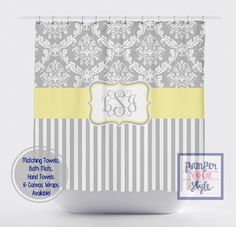 Damask and Stripe - Gray and Yellow Shower Curtain - Any Color Band - Personalized Shower Curtain, Custom Monogrammed Curtain