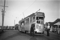 Tram leaving Greenslopes, Brisbane 1957