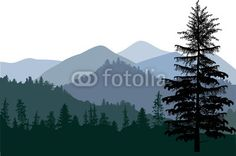 Wall Mural dark illustration with mountain forest - Photo Wallpaper • PIXERSIZE.com