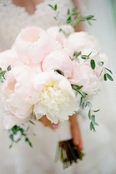 Romantic pale pink & white peonies with foliage