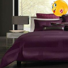 #2017 Make a reservation to unwind! The #Hotel Collection Frame Mulberry duvet cover features a blend of fabrics that provide a luxurious touch and a rich purple...