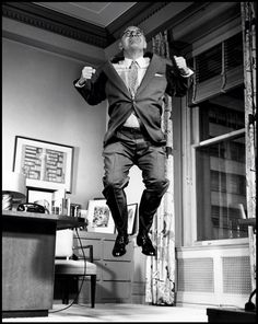 """bennet cerf jumping in suit in """"Jumpology"""" by Philippe Halsman Photography Projects, Fine Art Photography, Photography Poses, White Photography, Bennett Cerf, Philippe Halsman, Dynamic Poses, Action Poses, Life Magazine"""