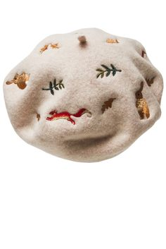 ♥ Beautiful Woodland embroidered beret with an enchanted print of bunnies, squirrels and leaves. Pick from two suits all shades: Beige or Camel.  ♥ PRODUCT SPEC
