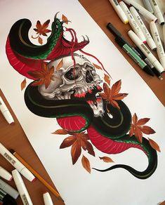 japanese with tattoos Japanese Snake Tattoo, Japanese Tattoo Symbols, Japanese Sleeve Tattoos, Sleeve Tattoos For Women, Japanese Dragon, Japanese Art, Irezumi Tattoos, Skull Tattoos, Body Art Tattoos