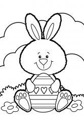 Раскраска Заяц на лугу с пасхальным яйцом