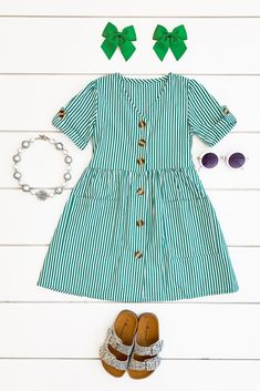 Sadie Stripe Dress – Jade Green – Mina – Join in the world of pin Frocks For Girls, Kids Frocks, Dresses Kids Girl, Dresses For Teens, Cute Dresses, Kids Outfits, Jade Green Dress, Knitted Baby Cardigan, Baby Kids Clothes